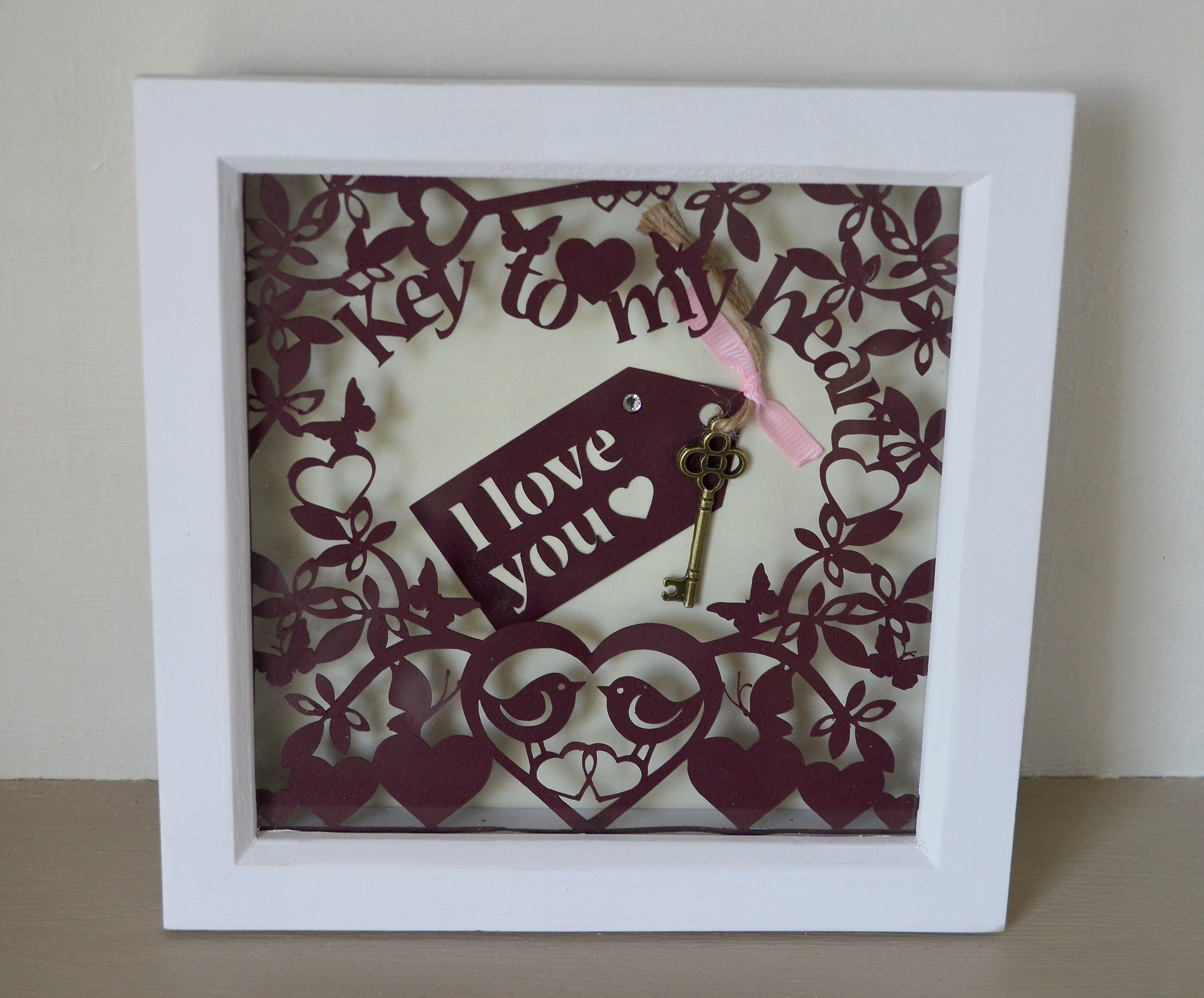 Key to my heart framed 3D papercut art | Quire Creative